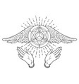 open hands hand drawn occult design vector image vector image