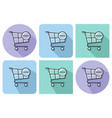 outlined icon of shopping trolley with minus sign vector image