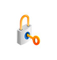 padlock and key isolated on white vector image