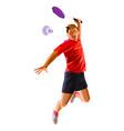 polygonal professional badminton player doing