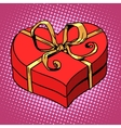 Red gift box in heart shape Love Valentines day vector image vector image
