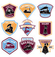 set emblems with vintage train retro rail road vector image