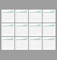 set identical light calendars 2019 months flat vector image vector image