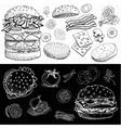 Set of color chalk drawn on a blackboard food vector image vector image