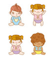 set special babies with hairstyle and diaper vector image