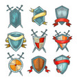 shield and sword medieval heraldic armor sketch vector image