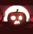 silhouette scary pumpkin zombie hand on moon vector image