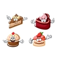 Sweet chocolate biscuit and fruity cakes vector image vector image