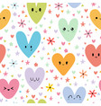 sweet seamless pattern with colored smiley hearts vector image vector image