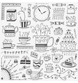 Tea and coffee cups doodles vector image