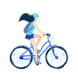 the teenage girl riding the vector image vector image