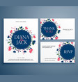 wedding suite invitation card with flower vector image vector image
