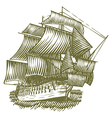 Woodcut Ship vector image vector image