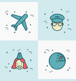 airplane pilot stewardess and radar line icons vector image vector image