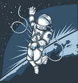 astronaut in outer space against backdrop of vector image