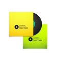 Black vintage vinyl record with blank yellow and vector image