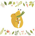 bright floral card with cute squirrel in a scarf vector image vector image
