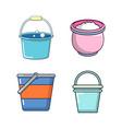 bucket icon set cartoon style vector image vector image