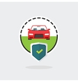 Car insurance logo automobile protected with vector image vector image