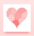 card with patchwork heart vector image vector image