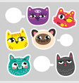 cat stickers for notes communication in cat vector image vector image