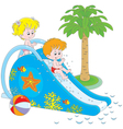 Children on a waterslide vector image vector image
