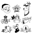 Christmas icons black and white set vector image vector image