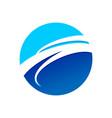 circular blue wave symbol logo design vector image vector image
