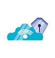 cloud computing with shield secure vector image vector image