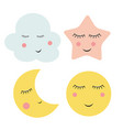 cute cloud star and moon vector image vector image