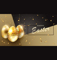 design with eggs of gold color with glitter and a vector image vector image