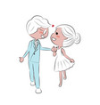 doodle hand draw wedding couple holding hands vector image