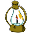 drawn oil lamp vector image