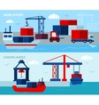 Flat Color Seaport Horizontal Banners vector image