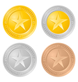 four gold coins vector image vector image