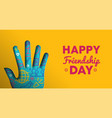 friendship day web banner of paper cut hand shape vector image vector image