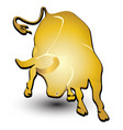 gold bull symbol vector image vector image