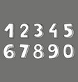 hand drawn white numbers isolated on grey vector image vector image
