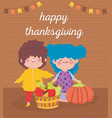 happy thanksgiving day little girl and boy vector image vector image