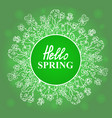 hello spring flower frame vector image vector image