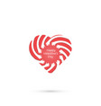 human hand with heart icons logo design vector image vector image