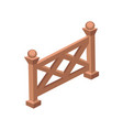 isometric cartoon wooden fence gate - element for vector image vector image