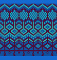 knitted sweater seamless pattern in blue colors vector image vector image