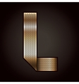 Letter metal gold ribbon - L vector image