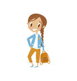 lovely cartoon girl character in blue jacket and vector image vector image