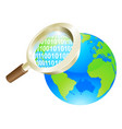 magnifying glass binary data world globe concept vector image vector image