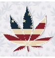 Marijuana leaf with the USA flag colors vector image vector image