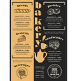 Menu bakery restaurant food template placemat vector image