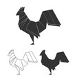 origami rooster set vector image vector image