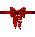 red bow satin ribbon for gift creative textile vector image vector image